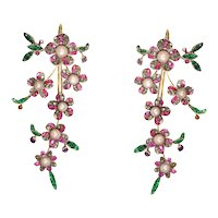 Extravagant Long Pendant Earrings from Antique parts with Diamonds, Pearls and Rubies, 1780s