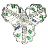 Vintage Edwardian pendant with diamonds sapphires and emeralds