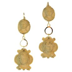 Victorian lava stone cut cameo ear pendants