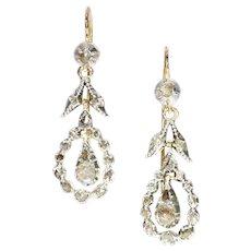 Late Georgian Rose Cut Diamond Long Pendent Earrings, 1850s