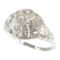 Stunning Vintage Platinum 1.74 Carat Diamond Engagement Ring Slightly Domed, 1930s