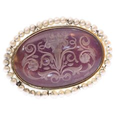 Victorian etched glass gold brooch with seed pearls - anno 1900