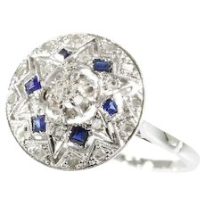 Art deco ring with diamonds and sapphires