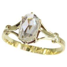 Vintage yellow gold big rose cut diamond engagement ring