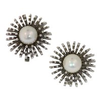 Estate white gold ear clips with pearl model sea urchin