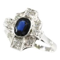 Vintage Art Deco Diamond and Sapphire Engagement Ring, 1920s - FREE Resizing*