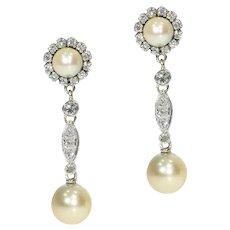 Vintage 18 Karat White Gold Diamond and Pearl Ear Drop Earrings, 1950s