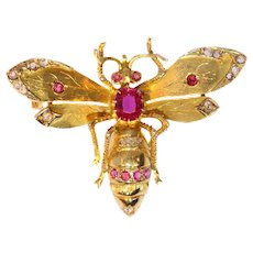 Yellow gold Victorian bee brooch with diamonds and rubies