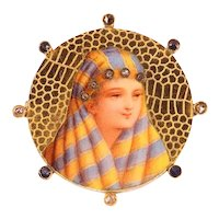 Typical Late 19th Century Gold Enameled Brooch with Bedouin Woman, 1900s