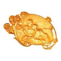 Art Nouveau Brooch Signed Vernon Depicting Friendship Between Two Women, 1900s