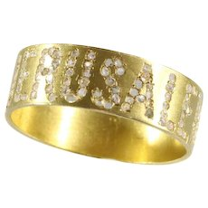 Late Victorian gold band with the name Jerusalem written in diamonds