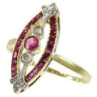 Art Deco ring with diamonds and rubies - ca. 1920