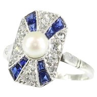 Stylish Art Deco diamond sapphire and pearl ring
