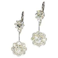Platinum Art Deco pendent diamond earrings