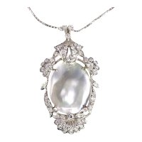 Vintage Fifties Diamond '2.94 Carat' and Pearl Pendant Necklace