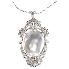 Vintage Fifties 18 Karat White Gold Diamond and Pearl Pendant Necklace, 1950s