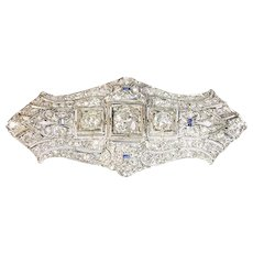 Original Art Deco diamond platinum brooch