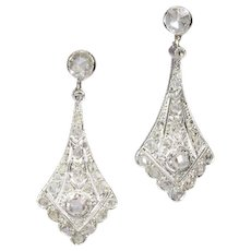 Vintage Art Deco platinum diamond pendant earrings