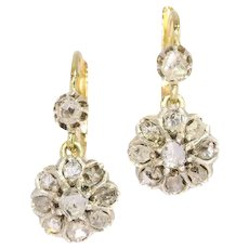 Gold and diamond earrings late Victorian