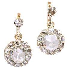 Antique large rose cut diamonds earrings - ca. 1900