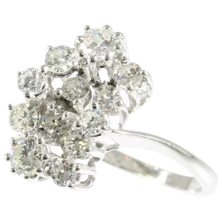 1e52d5d72a0b7 Vintage Seventies Happy Cocktail Ring with diamonds