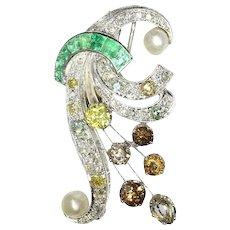 Vintage fancy color diamonds platinum bouquet or feather pendant/brooch