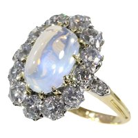 Late Victorian Bluish Moonstone '4.20 Carat' and Brilliant Cut Diamond '2.16' Carat Engagement Ring, 1890s