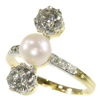 Vintage Diamond and Pearl Engagement Ring Belle Epoque Period, 1915s