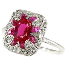 Original Vintage Art Deco diamond and ruby ring