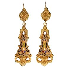 Victorian floral enamel dangle earrings yellow gold, anno 1830