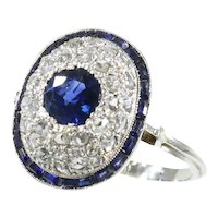 Vintage Art Deco Diamond and Natural Sapphire '1.10 Carat' Engagement Ring, 1920s