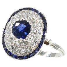 Vintage Art Deco diamond and sapphire engagement ring