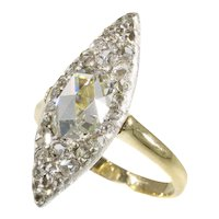 Vintage Belle Époque Navette Shaped Engagement Diamond Ring, 1910s