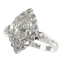 Vintage 1950s Platinum Engagement Ring with 0.85 Carat Diamonds