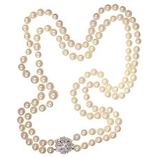 Fifties double strand pearl necklace with platinum diamond closure