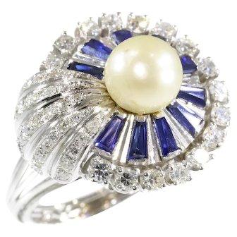 Vintage platinum diamond sapphire and pearl cocktail ring