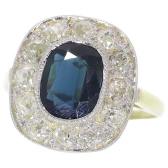 Vintage diamond and sapphire engagement ring 18K yellow and white gold