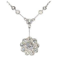 Vintage Art Deco Platinum 1.10 Carat Diamond Chandelier Necklace, 1930s