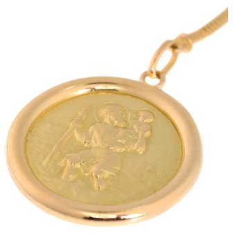 Gold good luck token for car owner - St Christoph patron to travellers