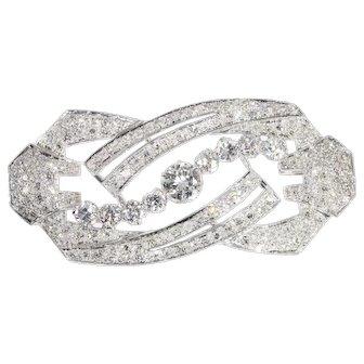 Vintage Art Deco platinum diamond brooch from the Fifties