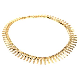 Vintage Sixties gold necklace with links  resembling sunlight beams
