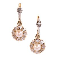 Vintage antique late Victorian earrings with rose cut diamonds and pearls ca. 1890