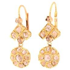 Vintage diamond 18K gold earrings ca. 1930