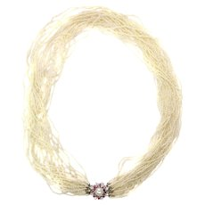 Vintage Pearl Necklace with 13000+ Pearls and White Gold Diamond Ruby Closure, 1950s