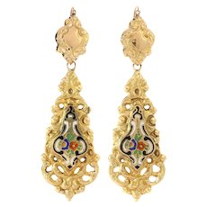 Antique Victorian gold dangle earrings with enamel - ca. 1830