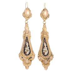 18K gold dangle earrings with enamel Victorian era - ca. 1840