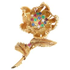Signed Cartier Vintage Fifties Trembleuse Brooch with Opening/Closing Mechanism Flower, 1950s