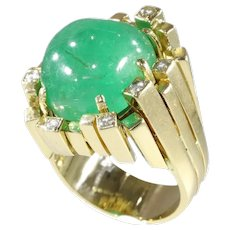 Vintage Seventies Modernistic Artist Design Ring with Large Emerald and Diamonds, 1970s - FREE Resizing*