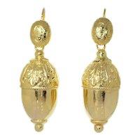 Antique Victorian 18 Karat Yellow Gold Acorn Motive Earrings, 1840s