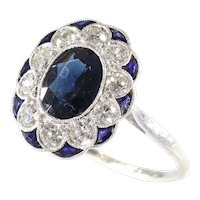 Charming Original Art Deco Vintage Diamond and Sapphire Engagement Ring, 1930s - FREE Resizing*